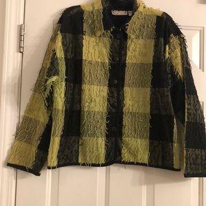 New Direction Black and Green Fringe Jacket